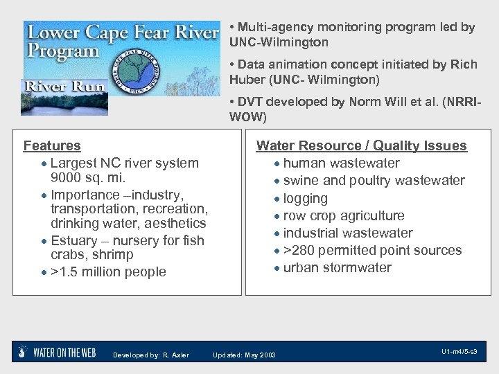 • Multi-agency monitoring program led by UNC-Wilmington • Data animation concept initiated by