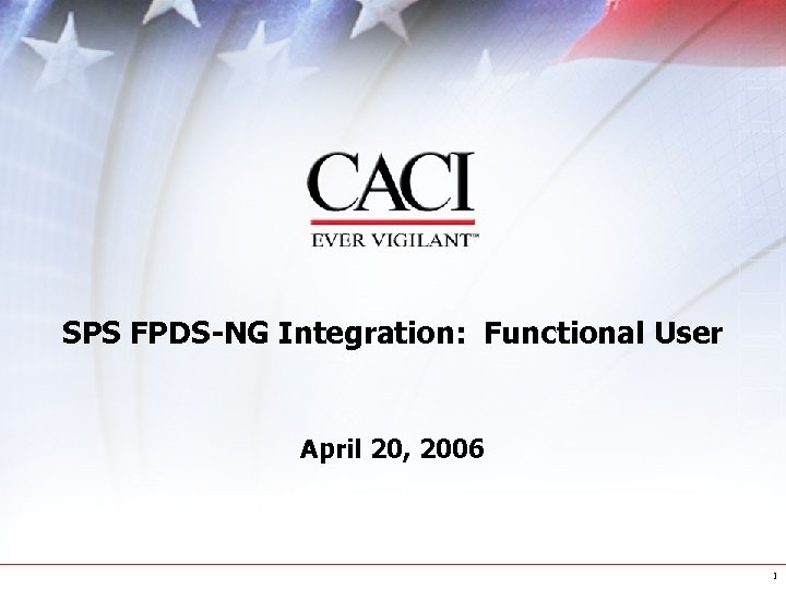 SPS FPDS-NG Integration: Functional User April 20, 2006 1