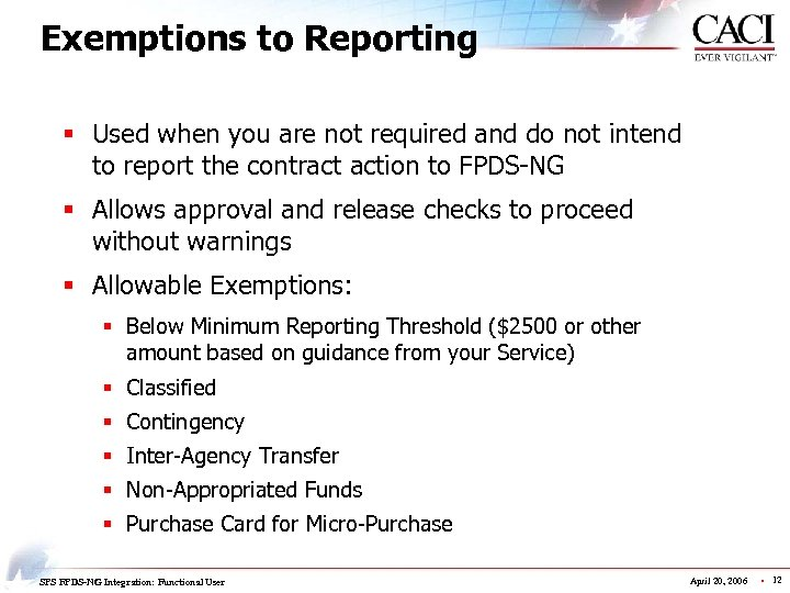 Exemptions to Reporting § Used when you are not required and do not intend