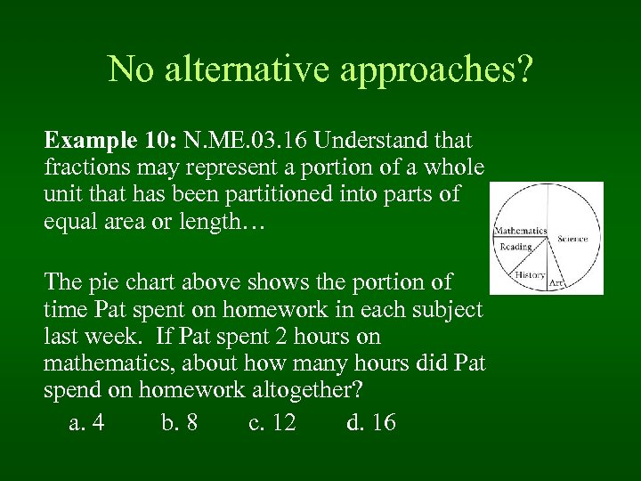No alternative approaches? Example 10: N. ME. 03. 16 Understand that fractions may represent