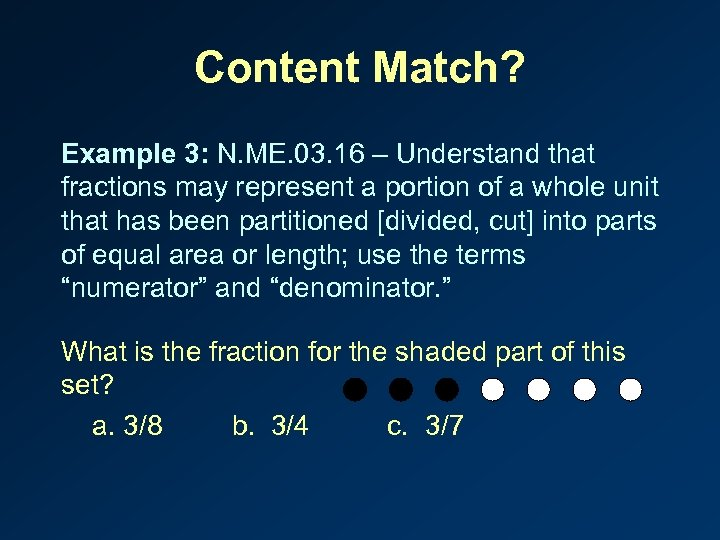 Content Match? Example 3: N. ME. 03. 16 – Understand that fractions may represent