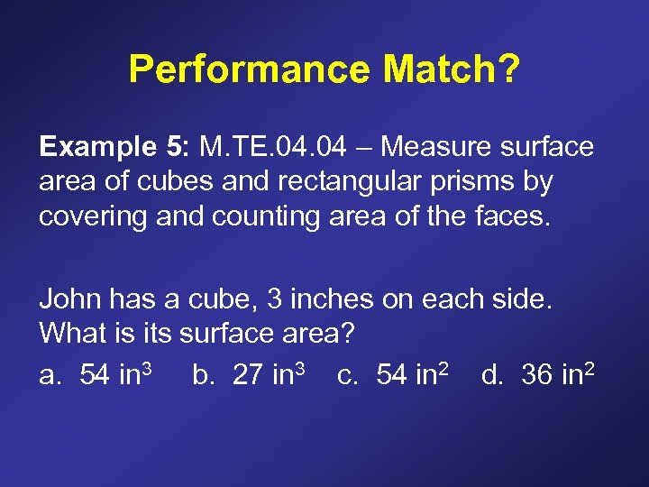 Performance Match? Example 5: M. TE. 04 – Measure surface area of cubes and