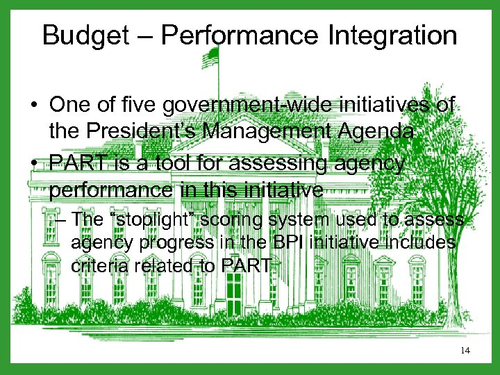 Budget – Performance Integration • One of five government-wide initiatives of the President's Management