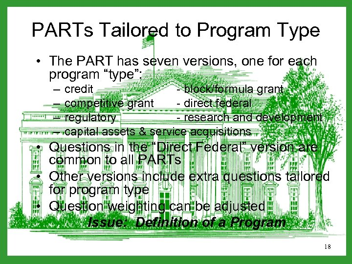 PARTs Tailored to Program Type • The PART has seven versions, one for each