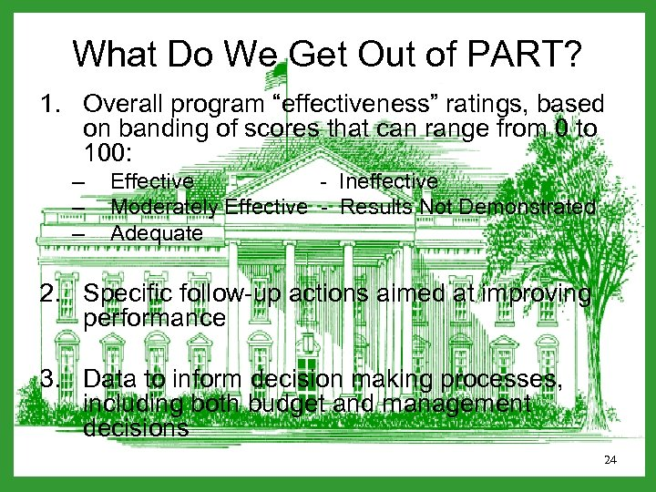 "What Do We Get Out of PART? 1. Overall program ""effectiveness"" ratings, based on"
