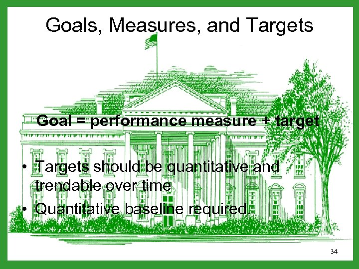 Goals, Measures, and Targets Goal = performance measure + target • Targets should be