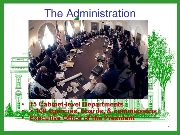 The Administration • 15 Cabinet-level Departments • > 100 agencies, boards, & commissions •