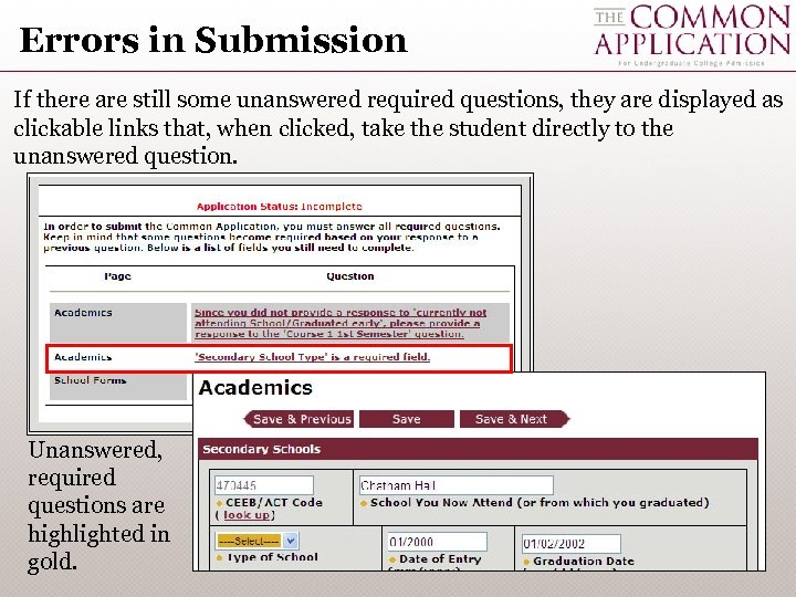 Errors in Submission If there are still some unanswered required questions, they are displayed