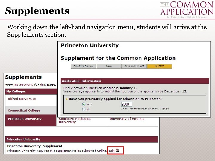 Supplements Working down the left-hand navigation menu, students will arrive at the Supplements section.