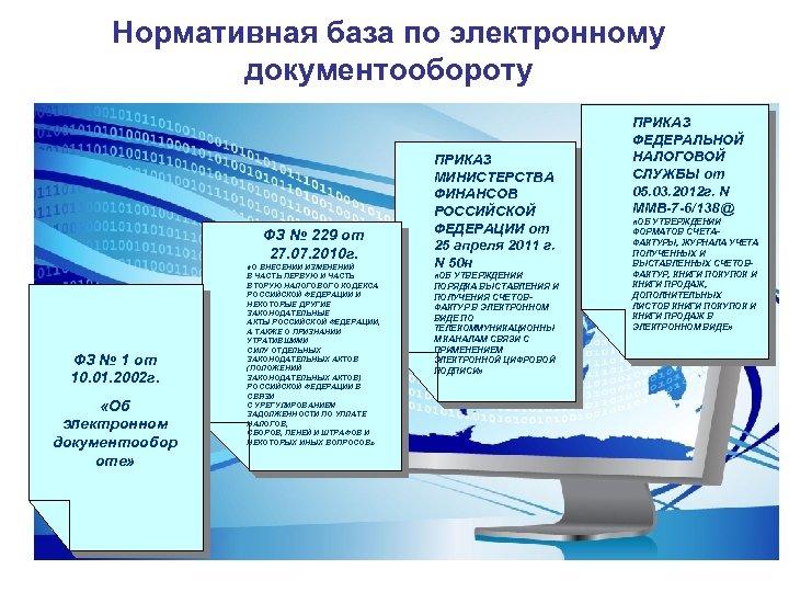 Нормативная база по электронному документообороту ФЗ № 229 от 27. 07. 2010 г. ФЗ