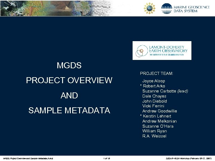 MGDS PROJECT OVERVIEW AND SAMPLE METADATA MGDS Project Overview and Sample Metadata (Arko) 1
