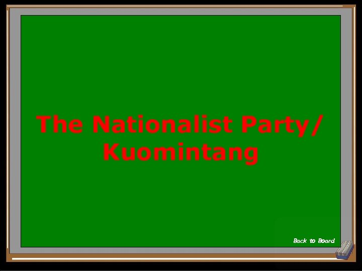 The Nationalist Party/ Kuomintang Back to Board