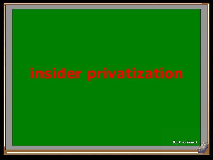 insider privatization Back to Board