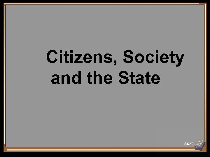 Citizens, Society and the State NEXT