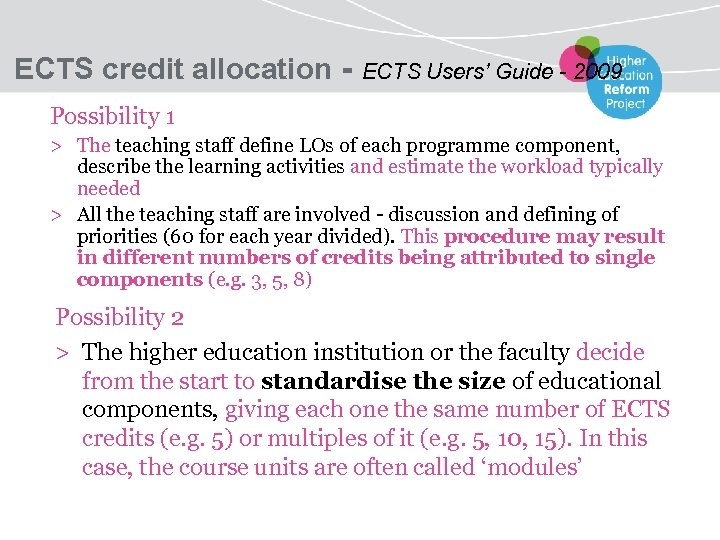 ECTS credit allocation - ECTS Users' Guide - 2009 Possibility 1 > The teaching