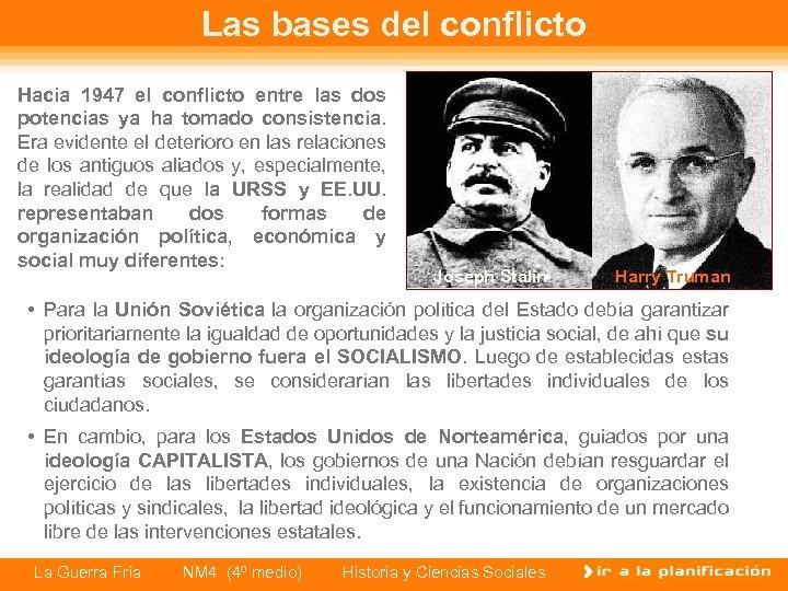 Las bases del conflicto Hacia 1947 el conflicto entre las dos potencias ya ha