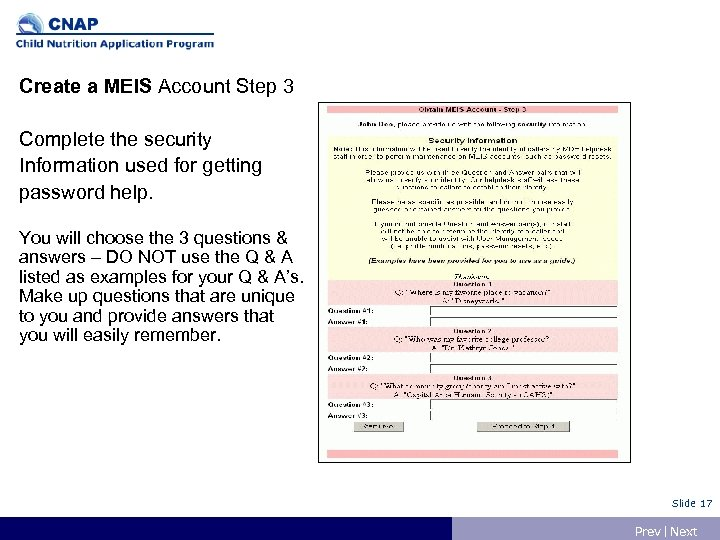 Create a MEIS Account Step 3 Complete the security Information used for getting password
