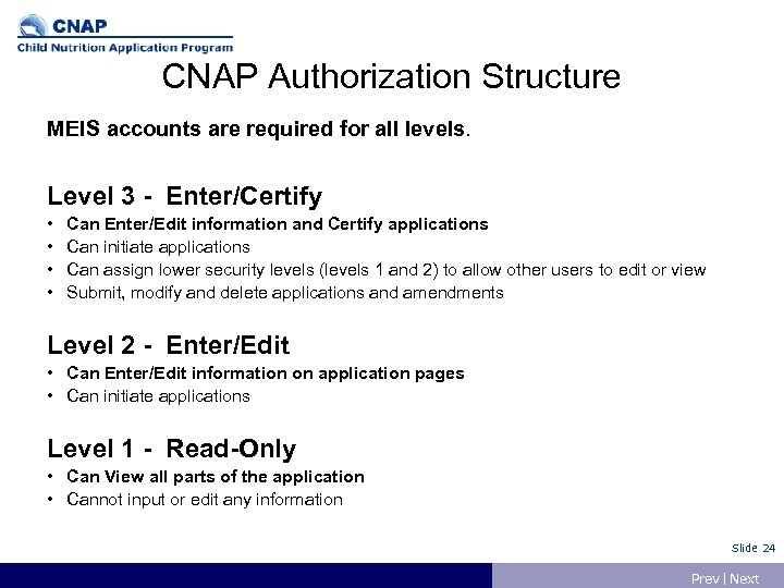 CNAP Authorization Structure MEIS accounts are required for all levels. Level 3 - Enter/Certify