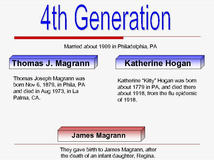 Married about 1909 in Philadelphia, PA Thomas J. Magrann Katherine Hogan Thomas Joseph Magrann