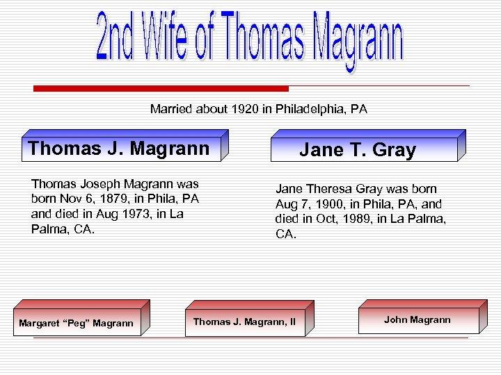 Married about 1920 in Philadelphia, PA Thomas J. Magrann Thomas Joseph Magrann was born