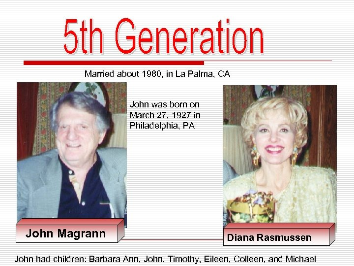 Married about 1980, in La Palma, CA John was born on March 27, 1927