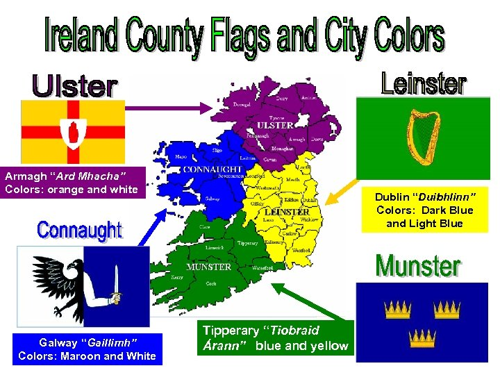 """Armagh """"Ard Mhacha"""" Colors: orange and white Galway """"Gaillimh"""" Colors: Maroon and White Dublin"""