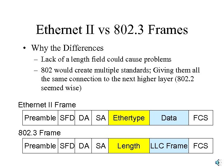 Ethernet II vs 802. 3 Frames • Why the Differences – Lack of a