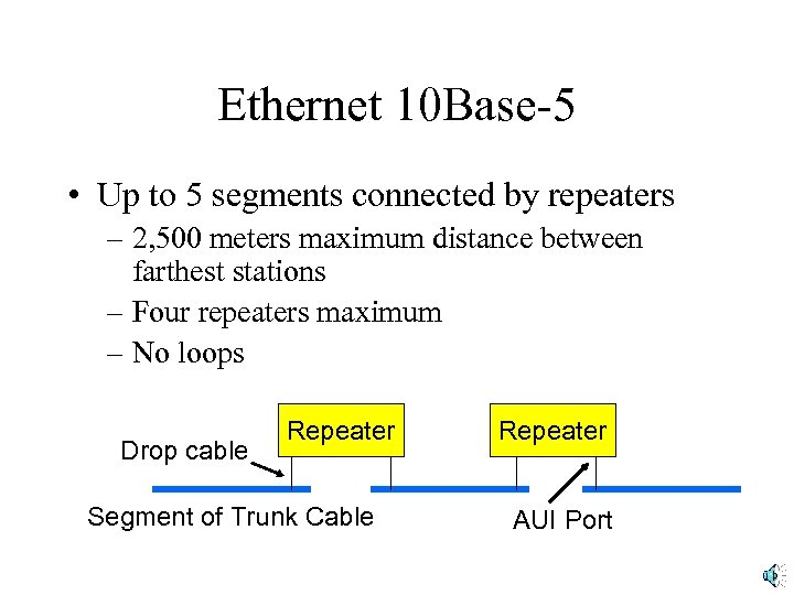 Ethernet 10 Base-5 • Up to 5 segments connected by repeaters – 2, 500