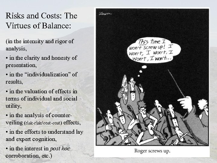 Risks and Costs: The Virtues of Balance: (in the intensity and rigor of analysis,