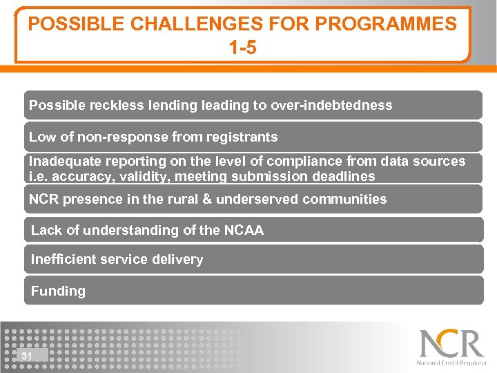 POSSIBLE CHALLENGES FOR PROGRAMMES 1 -5 Possible reckless lending leading to over-indebtedness Low of