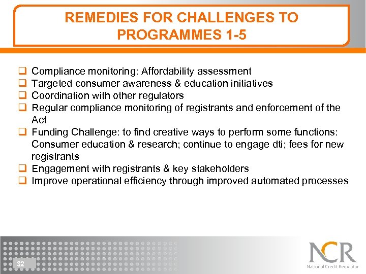 REMEDIES FOR CHALLENGES TO PROGRAMMES 1 -5 q q Compliance monitoring: Affordability assessment Targeted
