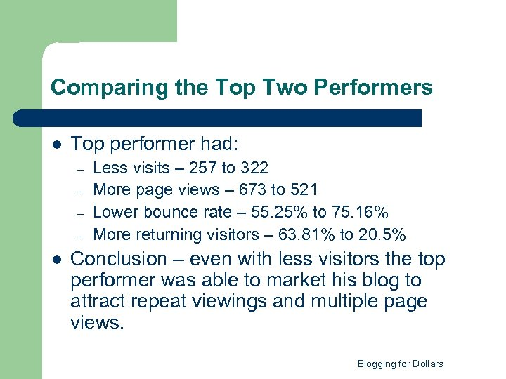 Comparing the Top Two Performers l Top performer had: – – l Less visits