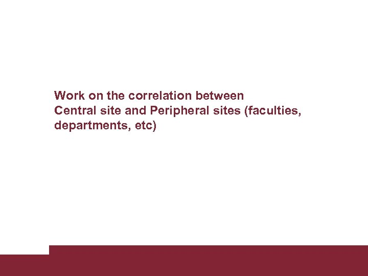 Work on the correlation between Central site and Peripheral sites (faculties, departments, etc) Building