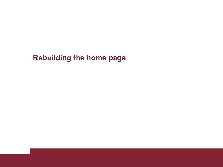 Rebuilding the home page Building new Sapienza web site April 12 2011 Pagina