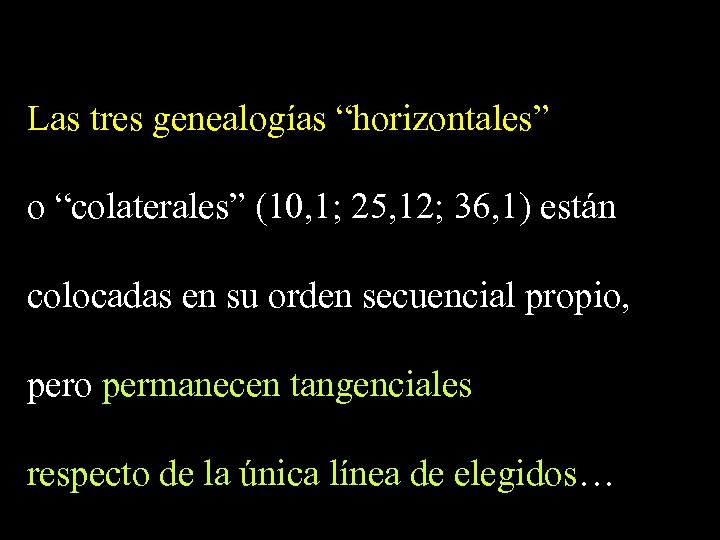"""Las tres genealogías """"horizontales"""" o """"colaterales"""" (10, 1; 25, 12; 36, 1) están colocadas"""