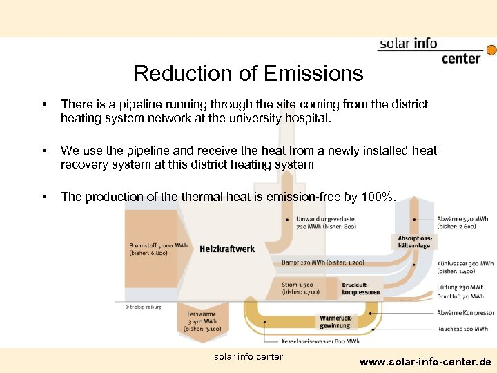 Reduction of Emissions • • • There is a pipeline running through the site