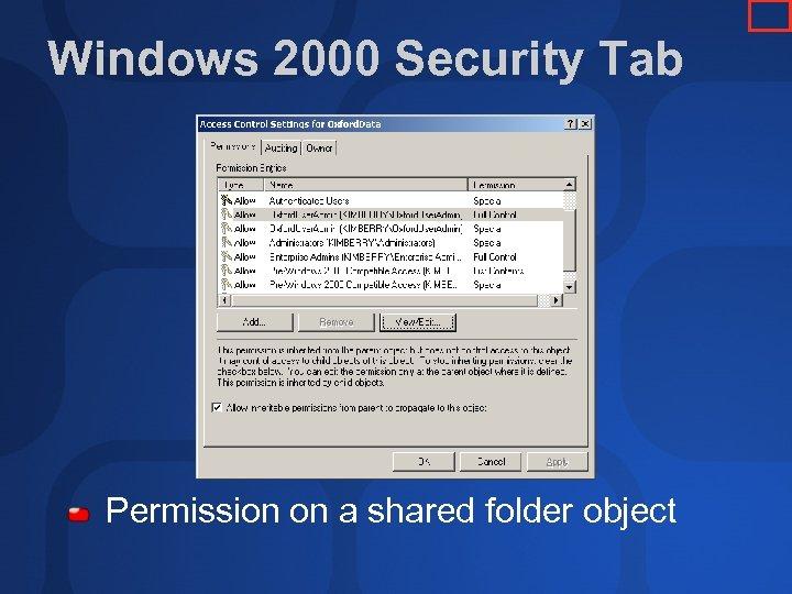 Windows 2000 Security Tab Permission on a shared folder object