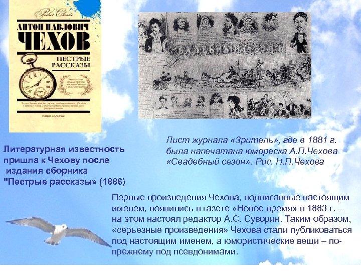 Литературная известность пришла к Чехову после издания сборника