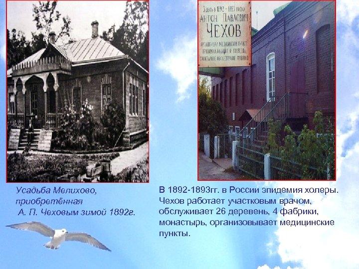 Усадьба Мелихово, приобретённая А. П. Чеховым зимой 1892 г. В 1892 -1893 гг. в