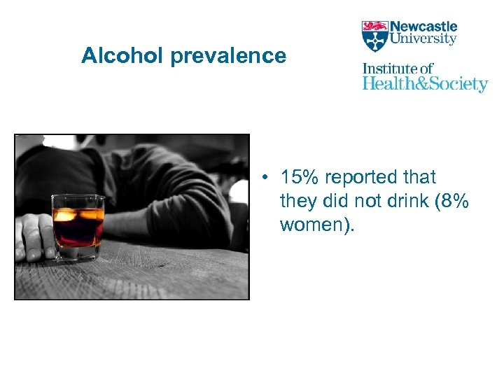 Alcohol prevalence • 15% reported that they did not drink (8% women).