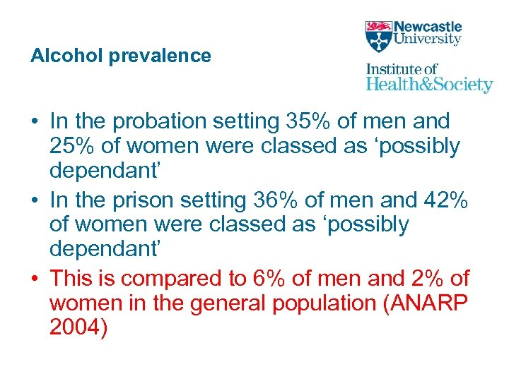 Alcohol prevalence • In the probation setting 35% of men and 25% of women