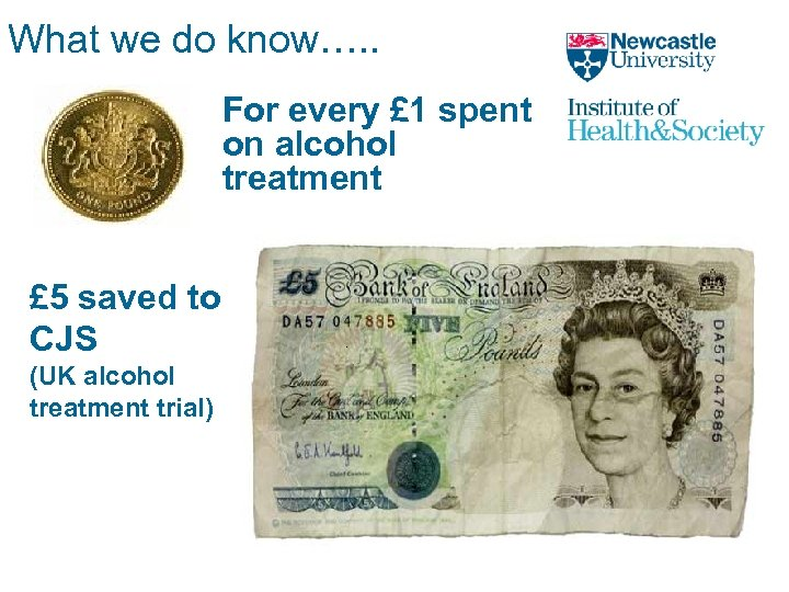 What we do know…. . For every £ 1 spent on alcohol treatment £