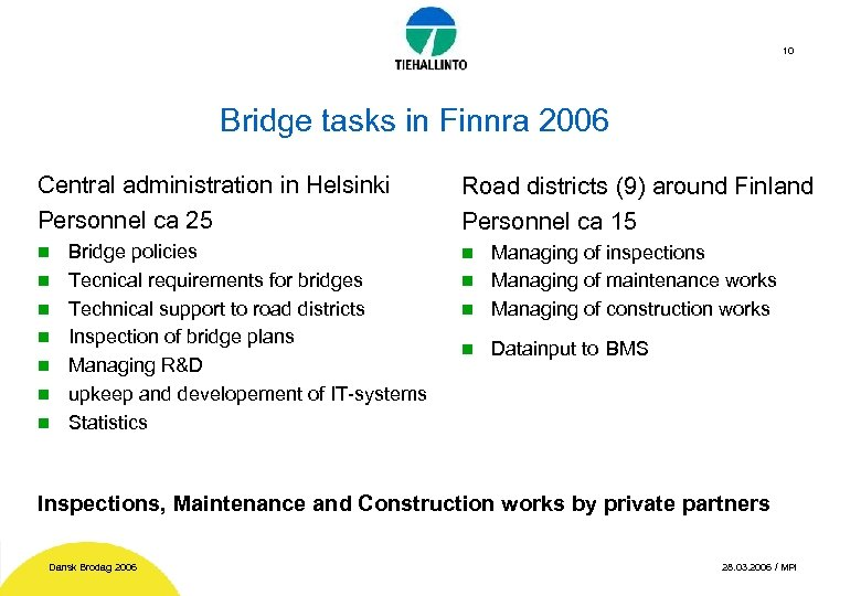10 Bridge tasks in Finnra 2006 Central administration in Helsinki Personnel ca 25 n