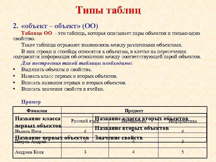 Типы таблиц 2. «объект – объект» (ОО) Таблица ОО - это таблица, которая описывает
