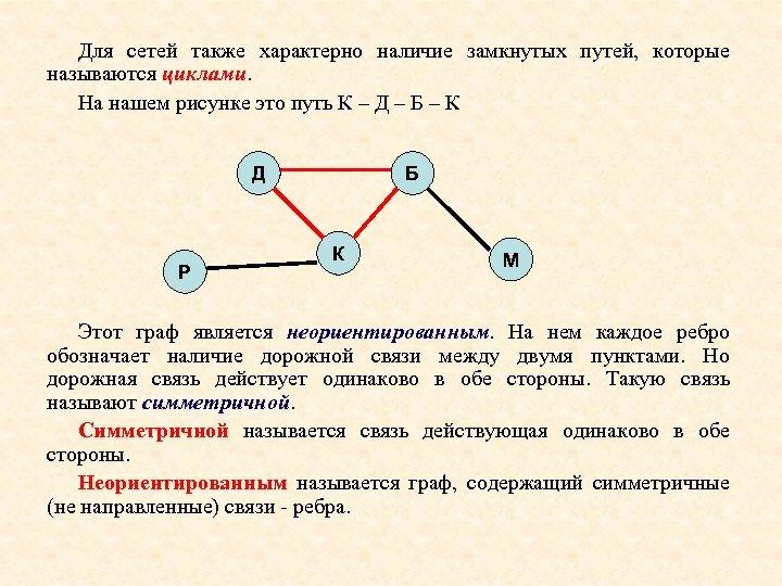 Для сетей также характерно наличие замкнутых путей, которые называются циклами. На нашем рисунке это