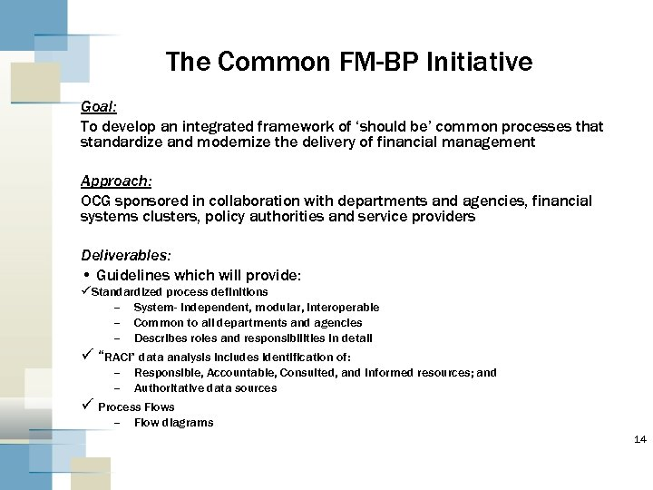 The Common FM-BP Initiative Goal: To develop an integrated framework of 'should be' common