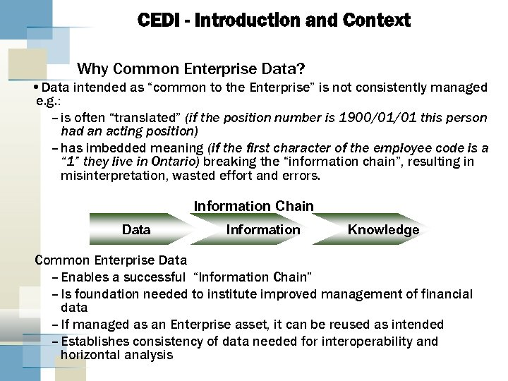 """CEDI - Introduction and Context Why Common Enterprise Data? • Data intended as """"common"""