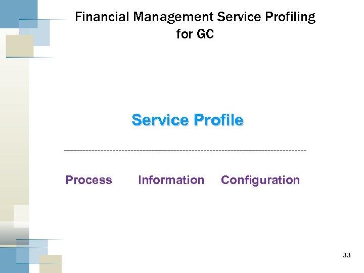 Financial Management Service Profiling for GC Service Profile Process Information Configuration 33