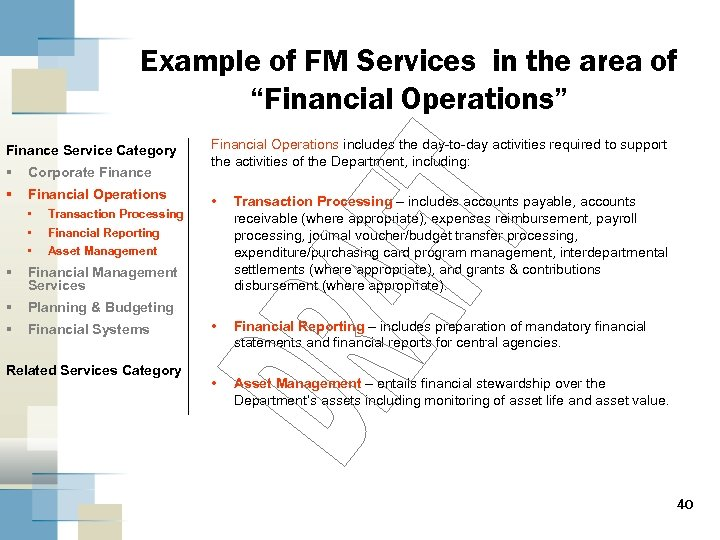 """Example of FM Services in the area of """"Financial Operations"""" Finance Service Category §"""