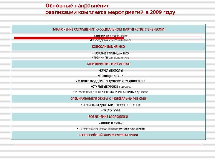 Основные направления реализации комплекса мероприятий в 2009 году